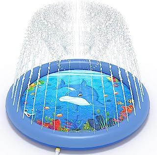 Directtyteam 儿童溅水垫,68 英寸(约 172.7 厘米)水溅充气游戏垫,户外水上玩具涉水池后院草坪游戏,适合 12 个月以上的幼儿儿童夏季娱乐