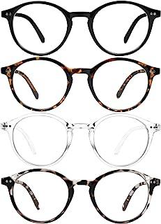 蓝光阻隔眼镜男式女式复古电脑眼镜*保护圆形镜框防眼*蓝光阻挡眼镜4件装
