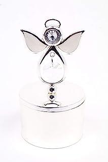 VI N VI 极简银天使珠宝盒饰品盒带水晶和珠宝天使  手绘收藏模型和装饰珠宝展示架,支架和收纳盒