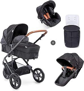 Hauck Pacific 3 Shop N Drive 组合婴儿车 6 件套 至 18 千克 + 婴儿提篮 可转换为可逆的座椅带护腿套 轻便可调节手柄 超大车轮 黑色