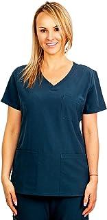 Trend Uniforms V 领磨砂上衣 - 柔软弹力面料,带 5 个口袋