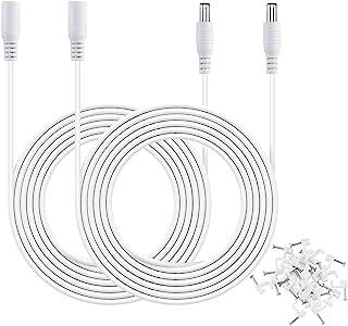 MEROM 2 件装电源延长线 白色 10 英尺(3 米) 5.5 x 2.1 毫米 直流插头电源 20AWG 电源线兼容 5V / 12V / 24V 无线 IP *摄像头,LED 条形灯,婴儿监视器