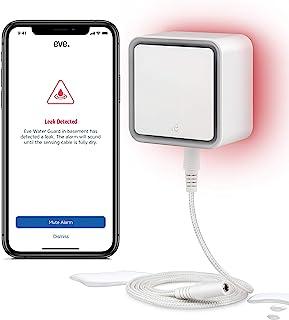 Eve Water Guard 智能水位探测器,2米传感器电缆(可延长),100dB,iPhone,iPad,Apple Watch(Apple HomeKit)