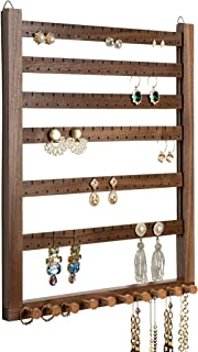 Mymazn 胡桃木耳环壁挂珠宝收纳架项链架组装耳环展示壁挂珠宝收纳架适用于项链环扫描组织