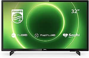 Philips 飞利浦 32PFS6805/12 32英寸电视(全高清LED电视,Pixel Plus HD,HDR 10,智能电视,全频扬声器,Freeview 播放,3 x HDMI,2 x USB,适合游戏) - 亮黑色(2020/2021型号)