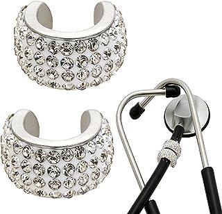 2 件装闪亮银色听诊器饰品,听诊器 ID 姓名标签,迷人水晶听诊器饰物,非常适合*配件,*RT *,紫罗兰吻水晶。