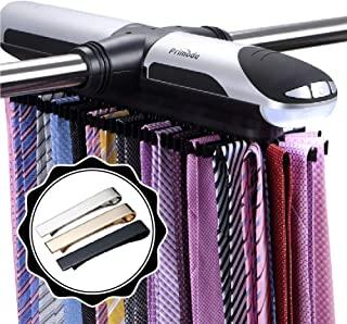 Primode 电动领带架衣柜收纳盒带 LED 灯,赠送不锈钢领带夹套装,包括 J 形挂钩,适用于有线货架,*多可存放 72 个领带,带 8 个腰带,旋转操作带电池