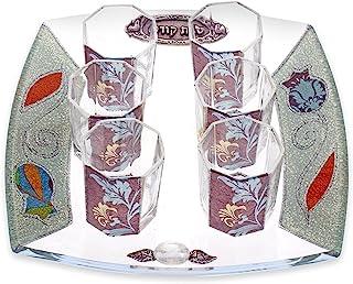 可爱的玻璃小孩杯套装,带蓝色和米色叶图案