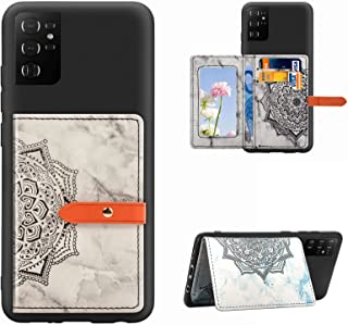 Yewos 兼容三星 Galaxy S21 Ultra 钱包式手机壳,带卡槽,曼陀罗大理石图案皮革钱包信用卡插槽钱袋后盖耐用防震硅胶外壳,黑色