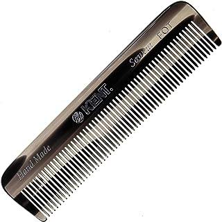 Kent A FOT 石墨手工全细齿男士梳子,直发器,适合日常梳理发型,胡子和胡须,使用干湿两用,锯切手工抛光,英国制造