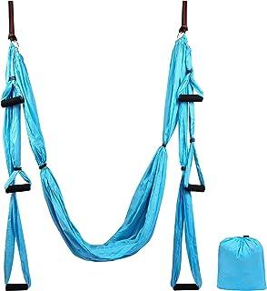 Domaker 空中瑜伽秋千套装,瑜伽吊床套件,抗重力天花板悬挂瑜伽吊带,飞瑜伽倒转工具适用于健身房家庭健身,带延长带和吊带套件