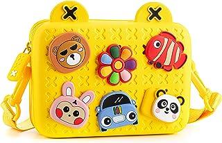 小女孩钱包,儿童钱包易清洁可爱幼儿钱包,带 DIY 卡通扣,适合 2 3 4 5 6 7 8 岁男孩女孩的礼物