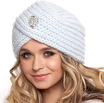 Braxton Jewled Fashion 针织头巾无檐小便帽 - 波西米亚闪光穆斯林女士帽 - 扭曲羊毛帽