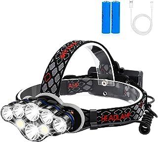 可充电头灯,Foxdott 8 LED 头灯手电筒,带白色红色灯,8 种模式 USB 可充电防水头灯,适合户外露营、骑行、跑步钓鱼