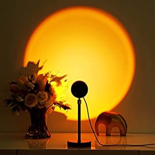 Elleety 太阳灯 – 高级太阳灯投影仪 180度旋转 – USB 充电日落 Aura 灯 带来温暖浪漫氛围 – 室内摄影日落灯 – 耐用铝合金设计