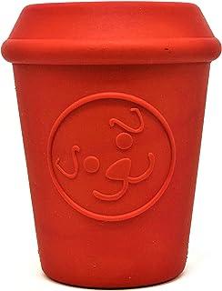 SodaPup 咖啡杯狗狗玩具 - 狗狗拼图玩具 - *分配狗狗玩具 - 狗狗丰富玩具 - 坚固的狗狗玩具 - 红色 - 大号