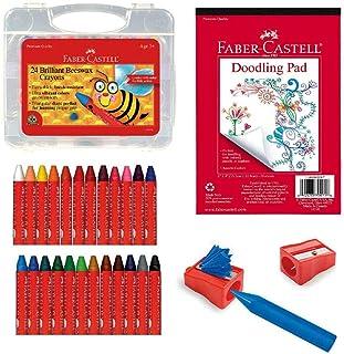 Faber-Castell 辉柏嘉 Back to School 蜂蜡着色套装 - 24支蜂蜡蜡笔、蜡笔卷笔刀和涂鸦垫,多色 (FC14339)