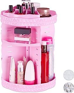 Relaxdays 化妆收纳盒,360°旋转,丙烯酸,可调节化妆品收纳盒,*油支架 粉红色 36.50 x 24.50 x 24.50cm 10026574_52