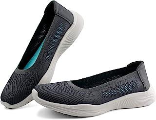JABASIC 女式一脚蹬针织乐福鞋舒适步行平底鞋
