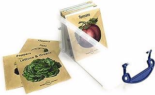 种子储物盒收纳盒花园盒,带 23 张复古传家宝植物设计分隔卡。