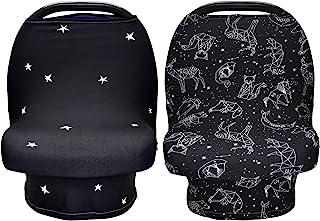 NEWITIN 2 件套哺乳巾婴儿汽车座椅套,婴儿推车套,女孩和男孩的汽车座椅遮阳篷,黑色星星风格