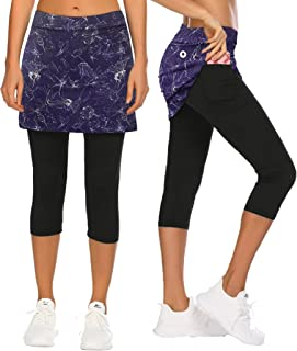 COOrun 女式短裙打底裤七分裙带口袋瑜伽运动紧身裤裤子高尔夫网球锻炼短裙