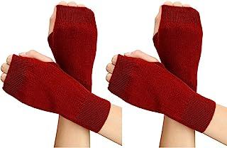 2 双羊绒无指手套半拇指孔无指针织保暖手套