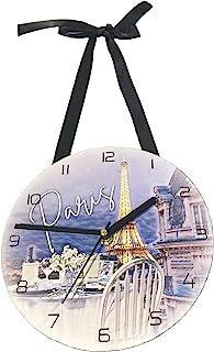 蓝色巴黎黄昏埃菲尔铁塔挂钟带丝带 - 20.32 厘米