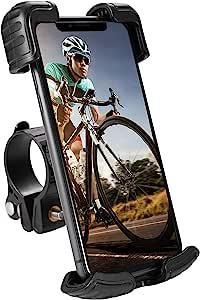 自行车手机支架,Aorika 摩托车手机支架防抖带*锁夹臂 360° 可旋转自行车摩托车配件适用于 4.7 英寸-7 英寸手机