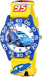 迪士尼男孩汽车3d 塑料黄色时间老师手表
