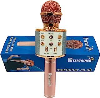 无线卡拉 OK 麦克风 7 合 1 手持便携式卡拉 OK 机,内置扬声器和 LED 灯显示(粉色/玫瑰金)