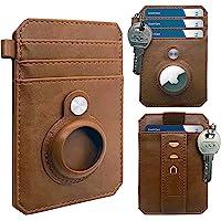 CAXGEK 极简主义钱包兼容 AirTag 2021,超薄前口袋钱包,带 AirTag 2021 支架保护套[杏子,不…