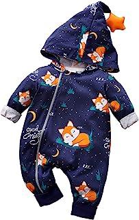 IURNXB 新生儿拉链连帽连衣裤印花紧身裤时尚狐狸设计婴儿服装