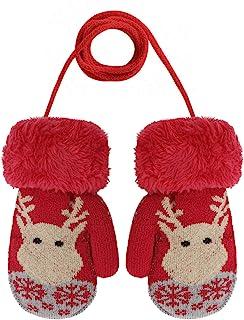 圣诞麋鹿图案冬季手套男孩和女孩双层加天鹅绒厚实户外防寒针织手套带绳子