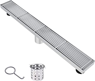 JOMAY 304 厘米线性淋浴排水管,带可拆卸四向管图案格栅,防锈拉丝 SUS 304 不锈钢矩形淋浴地板排水管,带滤网,可调节水平脚