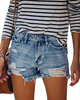 MIFOCAL 女式破洞牛仔短裤中腰夏季热生下摆短裤