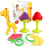 Sperric 新生儿硅胶牙胶玩具(5件装),可用于冰柜,无BPA,舒缓,完美的婴儿礼物