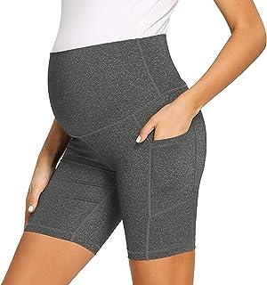 AMPOSH 女式孕妇瑜伽短裤高腰裸体感觉锻炼运动跑步短裤打底裤 - 20.32 厘米