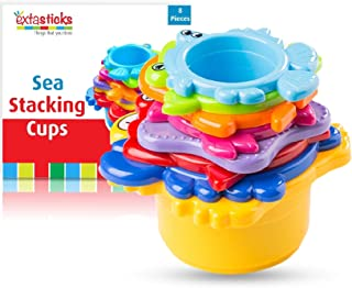 婴儿和学步儿童堆叠杯套装 - 8 个海洋动物在沙水中玩耍 - 浴室玩具 - 教育多色沙滩玩具男孩和女孩,* *,不含双酚 A