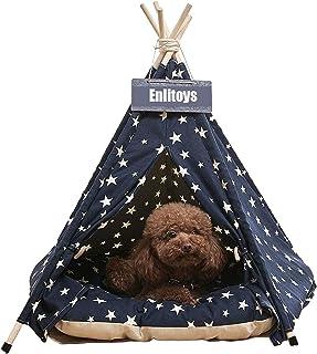 Pet Teepee 狗和猫床 带缓冲垫 - 便携式豪华宠物帐篷和房屋 带靠垫和黑板(星星)