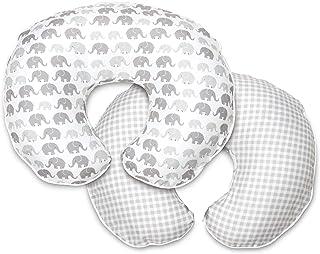 Boppy 超细纤维哺乳枕套,灰色大象格子