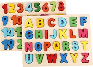 Steventoys 木制字母数字拼图 Montessori 学习玩具 学前教育活动 形状计数游戏 适合幼儿男孩女孩 3 岁以上儿童