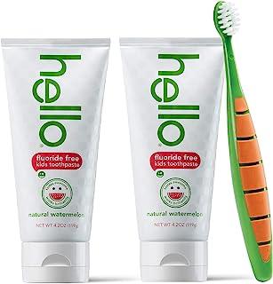 Hello Oral Care 儿童不含氟化牙膏,两件装,不含双酚 A,儿童和幼儿牙刷