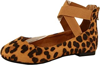 ShoBeautiful 女式经典芭蕾平底鞋带弹性交叉脚踝绑带芭蕾平底瑜伽平底鞋一脚蹬乐福鞋