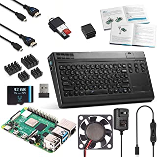 Vilros Raspberry Pi 4 完整桌面套件,带键盘和触摸板集线器外壳 2GB