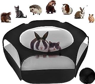 Petmoko 小型动物围栏 防水透气 室内外小型动物帐篷 适用于猫、兔子、几内亚猪、仓鼠、Chinchillas 等小动物……(黑色)