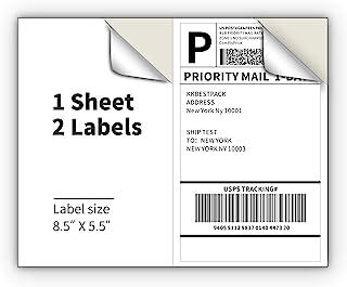 激光和喷墨打印机的半张装运标签 - 每页 2 个自粘邮寄标签 - 白色 8.5 x 5.5 邮费标签用于装运箱(2000 个标签)