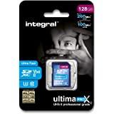 Integral 128GB UHS II SD 卡 V60 高达 260MB 读取和 100MB 写入速度 SDXC…