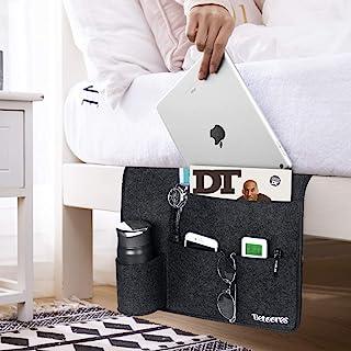Betoores 床边储物袋,毛毡悬挂收纳袋,带水瓶架,用于分类杂志、iPad、手机、耳机、遥控器、眼镜、笔 - 深灰色