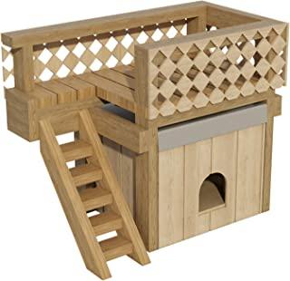 带屋顶甲板的狗屋计划 DIY 小型户外木制狗舍宠物家庭收容所狗舍